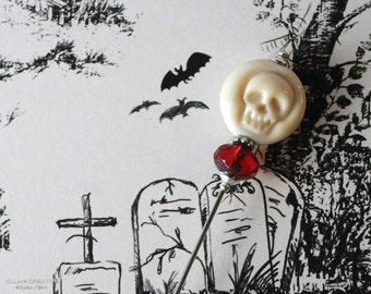 Lamp Work Skull, Etsy Artisan, Ivory Skull, Glass Skull, Limited Edition,  Stick Pin, Hat Pin, Lapel Pin, Steampunk, Ascot Pin, H0367