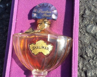 Vintage Guerlain Shalimar with baccarat style bottle and presentation box - SALE