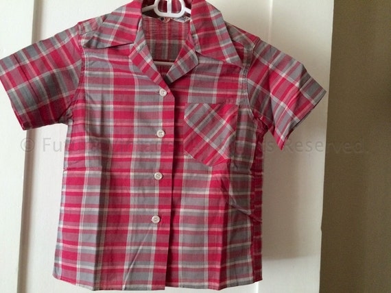 1950s Girls Pink and Grey Plaid Short Sleeve Button Front JEANIE Blouse with Pocket