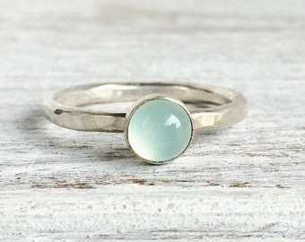 Chalcedony Ring - Sterling Silver Gemstone Ring - Aqua Chalcedony Gemstone - Simple Stackable Ring