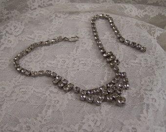 Vintage 2 Row Clear Rhinestone Silver Choker Style Necklace, Costume Jewelry,  Wedding Bridal Prom Estate Jewelry