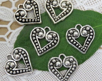 6 Vintage HEART Charms in Antique Silver Tone, DIY, US Seller