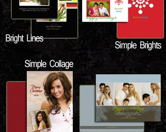 Holiday Photoshop Templates Layered Photoshop Templates Instant Download Chrismtas Cards Backs 4 Designs 16 PSD TaraLicious Set 2