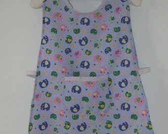 Elephant patterned tabard apron  to suit a toddler