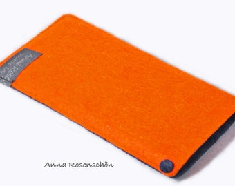 iPhone sleeve felt iPhone 4 5 orange and blue marine
