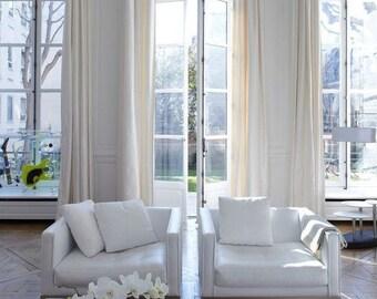 Solid color linen drapes, off-white linen curtain panels, ivory linen panels
