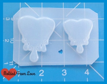 "SALE NEW! Dripping Heart 2"" and 1"" Handmade Plastic Mold"