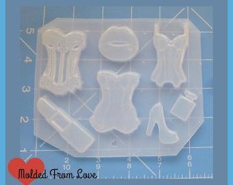 SALE Deluxe Retro Rockabilly Corset  Pallet Handmade Flexible Plastic Resin Mold