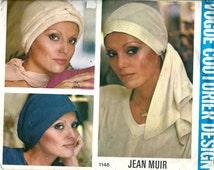 Jean Muir Designer * Vogue Couturier Pattern 1148 * Ladies' Chemo Cancer Head Scarf Hats  * UNCUT * ORIGINAL PATTERN