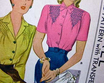 UNCUT * 1940s McCall Pattern 1117 *  Ladies' Beautiful  Blouses  with Smocking  Design * with Embroidery Transfers * Bust 32