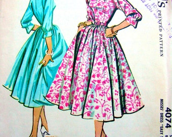 1950's McCall's Pattern 4074 *  Beautiful Ladies' Full Skirt Rockabilly Dress  // Size 16 *  Bust 36 * UNCUT * Easy to Sew