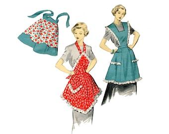 1950s Apron Pattern Full Bib Apron Flared Skirt Pinafore Hanky Hem Scallp Half Advance 5884 Vintage Sewing Pattern Size Medium UNPRINTED