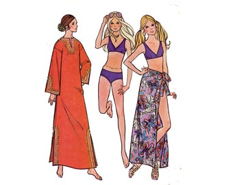 1970s Caftan and Bikini Pattern Swimsuit Sarong Wrap Skirt Daishiki Caftan McCalls 2896 Bust 32 Vintage Sewing Pattern Bathing Suit
