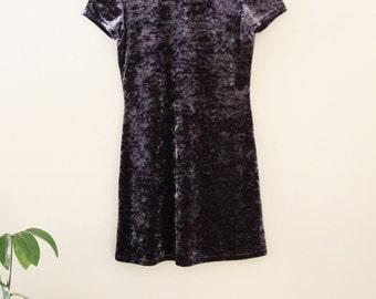 90's Blue Crushed Velvet Mini Dress