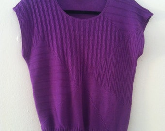 SALE - 80's Purple Knit Top