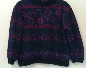 80's Black Floral / Paisley Sweater