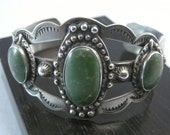 Native American Green Turqoise Cuff Bracelet, Native American Sterling Bracelets, Southwest Jewelry, Southwest Fashion Bracelets,  USA ONLY