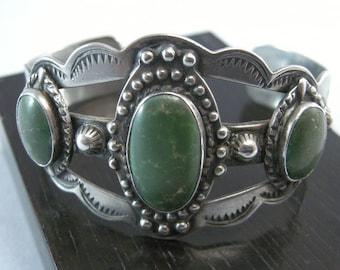 SALE... Green Turquoise Cuff Bracelet, Native American Sterling Bracelets, Southwest Jewelry, Southwest Fashion Bracelets,  USA ONLY