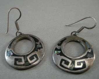 Mexican Silver Hoop Wire Earrings w/Abalone Shell, Silver Earrings, Retro Sterling Earrings, Vintage Mexican Silver, Sterling Hoop Earrings