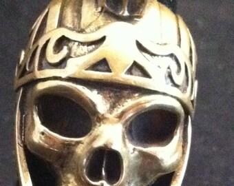 Motorcycle Bikers Skull Ring,Skull Rings,Biker Rings Made of Brass w/ Roman Head Dress Bikers Luxury Ring 8 3/4 - 9, Biker jewelry, Vintage