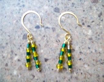 Oregon Duck Colors Spiky Dangle Earrings