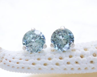 Sterling Silver & 5mm Natural Flawless Ice Blue Zircon Martini 3 Prong Stud Earrings Eco Friendly, Ethical, Conflict Free And Ready to Ship