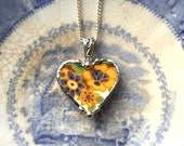 Broken china jewelry heart shaped necklace pendant Art Deco floral yellow and blue