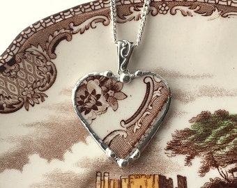 Broken china jewelry brown toile English Transferware broken china jewelry heart pendant necklace