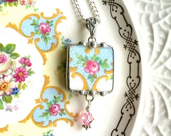 Broken China Jewelry pendant necklace antique pink rose on soft blue with crystal drop