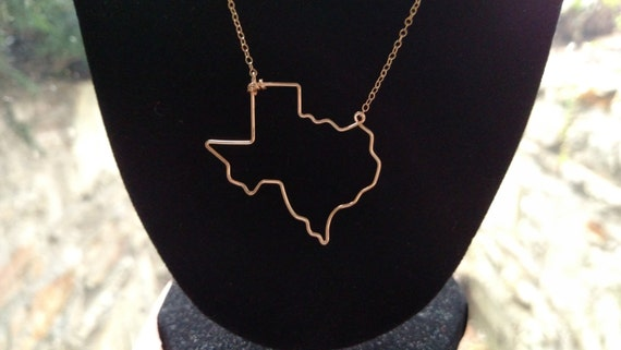 Texas State Necklace - Texas State Outline Necklace - Texas Necklace