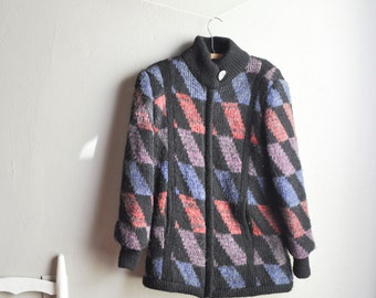 Vintage Sweater Jacket 80s Geometric Slanted Checker Pattern