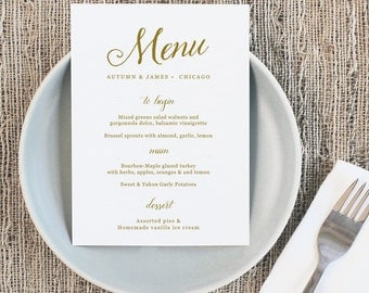 Printable Wedding Menu, Wedding Menu Template, Romantic  Script, Mac or PC, 100% Editable, Cheap Wedding Menu, INSTANT DOWNLOAD