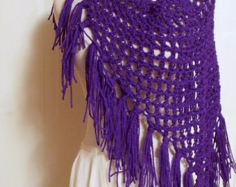 Hand Crochet Triangle Fringe Scarf, Fall Scarf, in Purple