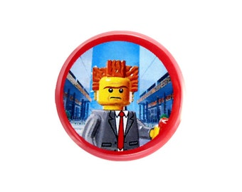 """President Business Button, Pinback Button, Button with The LEGO Movie (tm) Character, Small Badge, 1.25"""" Button, Lord Business Button - H3-1"""