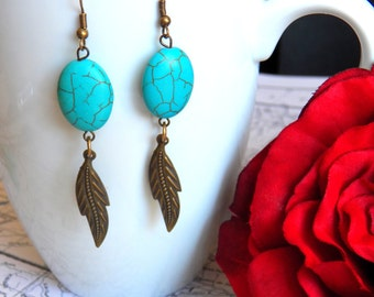 SALE - Vintage Inspired Blue Howlite, Bohemian Brass Feather Earrings, Long Wire Wrapped Charms, Antique Brass Ear Wires - Jewelry