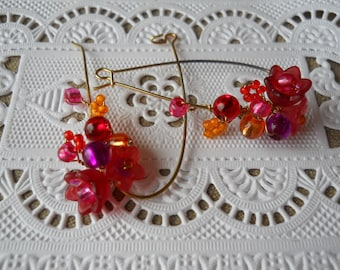 Red, orange and purple handmade flower earrings, warm rich bright colorful elongated teardrop, gold plated earwires, gorgeous, lovely gift