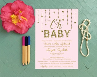 Gold Glitter Oh Baby Girl Shower Invitation, Pink Couples Baby Shower Invite, Girl First Birthday Party Invitation, Glamorous baby invite