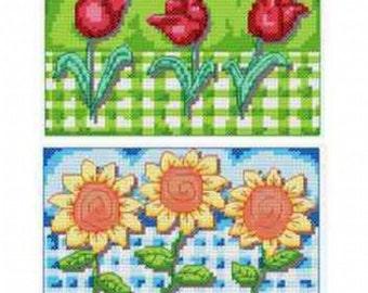 Gingham Tulips & Sunflowers Cross Stitch Chart, pattern by Cinnamon Cat # 605, sampler chart,