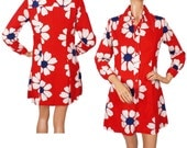 RESERVED 1960s Mod Mini Dress - Red Cotton - Daisy Print