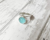 Sterling Silver Wide Band Ring  Sea Glass Black Onyx Blue Amazonite Shiny Comfortable Turquoise