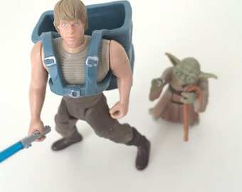 Vintage Star Wars Figures, Yoda & Luke Skywalker in Dagobah Jedi Training Gear - 1990's 2-Pack of Vintage Star Wars Figures, Kids Toys