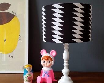 Checkers Handmade Lampshade in Inky Black & White