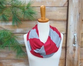 SALE, Stripe Infinity Scarf, Red and Grey Stripe Scarf, Jersey Infinity Scarf, Circle Scarf, Winter Scarf, Fashion Accessories College Scarf