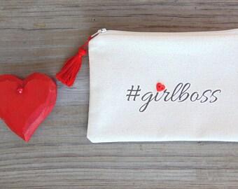 Cosmetic Bag, Makeup Bag, Girlboss Bag, Valentines Day Gift, Zipper Bag, Zipper Pouch, Coin Purse, #girlboss Cosmetic Bag, Gift for Her