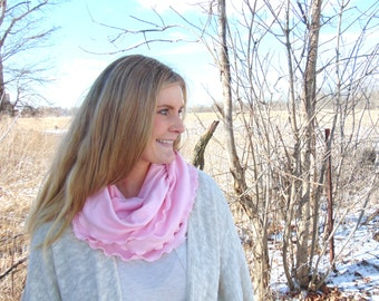 Pink Soft Scarf, Infinity Scarf, Gift for Her, Pale Pink Scarf, Light Pink Scarf, Circle Scarf, Gift for Wife, Jersey Scarf, Gift Under 30