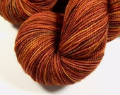 Hand Dyed Yarn - Sock Weight Superwash Merino Wool Yarn - Spice - Knitting Yarn, Sock Yarn, Fingering Yarn, Autumn Colors, Rust Orange Gold