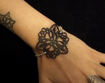 Black Leather Lace and Sterling Silver Chain Bracelet - Floral Tattoo Bouquet - ROSE SHADOW