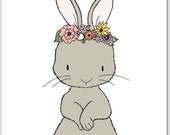 Girl Nursery Art -- Bunny Floral Crown