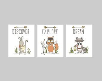 Woodland Nursery Art -- Discover, Explore, Dream Adventure Pack -- Set of 3 Prints -- Fox Raccoon Bunny Art -- Kid Wall Art -- Nursery Decor