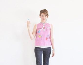 pink trompe l'oeil nurse shirt . medical costume blouse .extra small.xs .sale